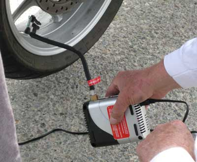 Reinflating the tire with a portable inflator-- be sure to have adaptors for various motorcycle power outlets.